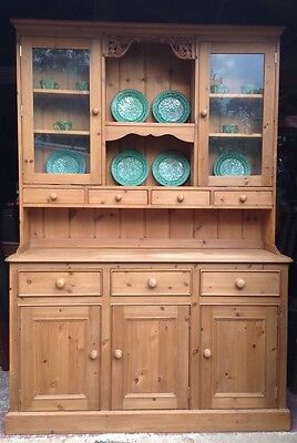 Pine Dresser Glazed Drawers Cupboards Shelves