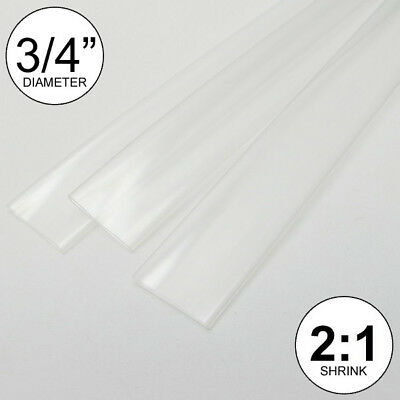 "(2 FEET) 3/4"" Clear Heat Shrink Tubing 2:1 Ratio wrap inch/foot/ft/to 0.75"" 20mm"