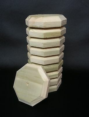 """10 x OCTAGONAL FENCE POST CAPS 4"""" x 4"""" x 1""""  TANALISED ~ TO SUIT 3""""  ROUND POSTS"""