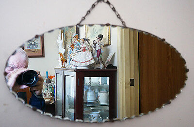 1930'S ART DECO CIRCULAR SCALLOPED EDGE OVAL MIRROR.Kallangur Pickup