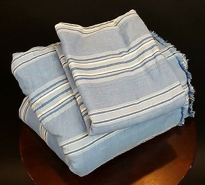 Antique Ticking Fabric Blue White Stripe Quilt Cotton 2 Pounds 8 Yards Narrow