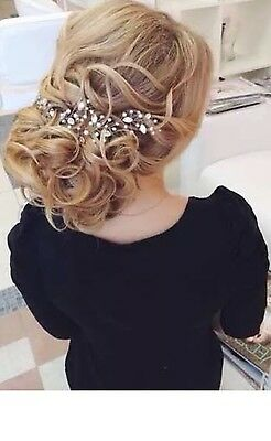 Bridal Crystal & Pearl Hair Vine Comb Wedding Rhinestone Headband Pin Headpiece