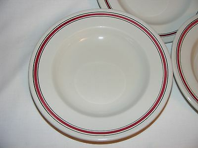 "3 Vintage Red Ring Band Restaurant Ware 9"" Wide Bowl Set Vandesca China Canada"
