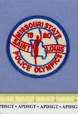 1980 MISSOURI STATE POLICE OLYMPICS SAINT LOUIS Sheriff Police Patch TORCH 3""