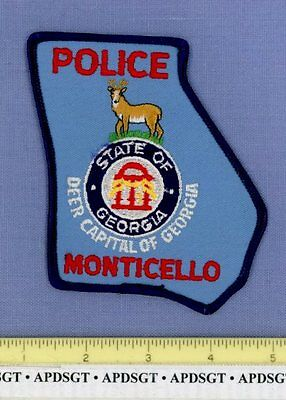 MONTICELLO GEORGIA GA Sheriff Police Patch DEER CAPITAL STATE SHAPE
