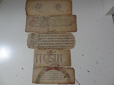 ANTIQUE TIBETAN BUDDHIST HANDWRITTEN  MANUSCRIPT  LEAVES with PICTURES