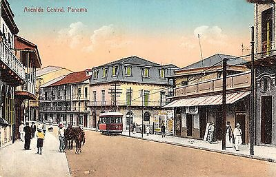 Central Ave., Panama City, PANAMA ~ Trolley ~Horse drawn buggy, vintage postcard