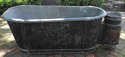 Antique French Black Metal Bathtub As Planter