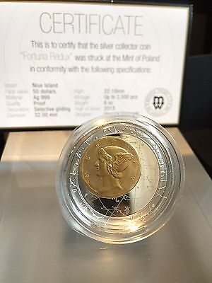 2013 Niue $50 Fortuna Redux Mercury 6 oz Cylinder Shaped Silver Coin