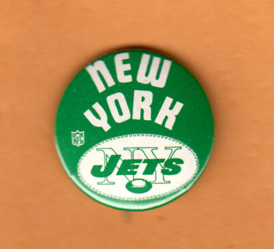 "VINTAGE 1970's NEW YORK JETS NY OLD LOGO 1 1/4"" STICK PIN BACK BUTTON"