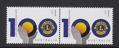Australia 2017 : Centenary of Lions Clubs International, $1 Joined pair, MNH