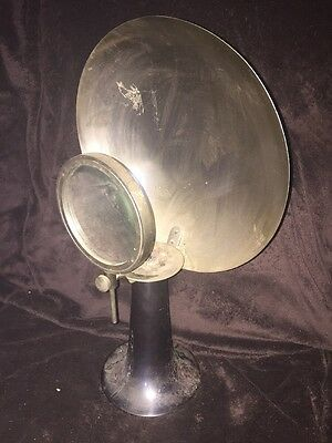 Antique Medical Scientific Candle Optical Magnifying Glass & Parabolic Reflector