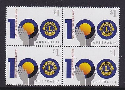 Australia 2017 : Centenary of Lions Clubs International, Block of 4 x $1 Stamps