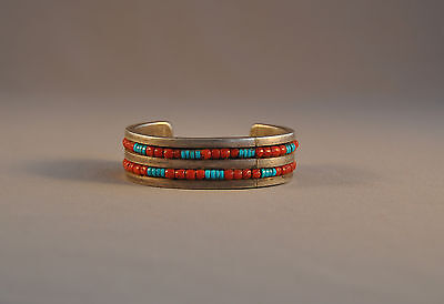 "Old Heavy Navajo Indian Thick Silver Mens Bracelet - Turquoise Coral - 7 1/4"" @"