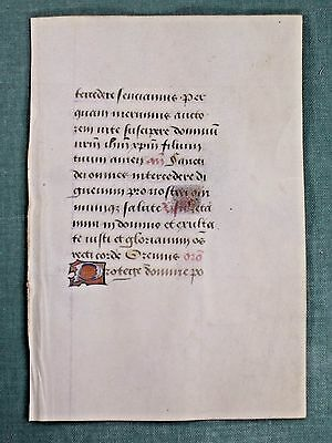 Fine Medieval Book of Hours,Manuscript Leaf,Vellum,Deco.Initial,c.1485