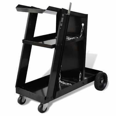 New Welding Trolley 3 Shelf Workshop Cart Organiser Mig Tig Welder Machine Black