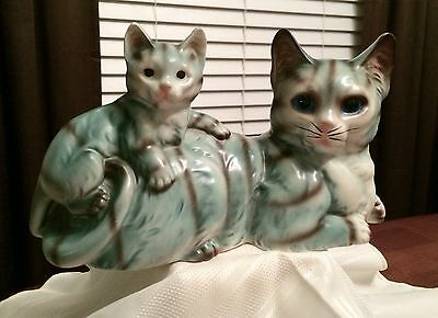 Cutest Gray Striped Tabby Cat Mom And Baby Kitten Figurine