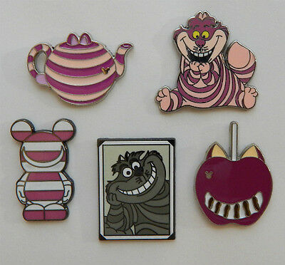 5 CHESHIRE CAT DISNEY TRADING PIN LOT Tradable Lapel Pins alice in wonderland
