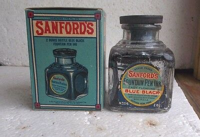 1911 Sanford's No.276 Emb & Label Fountain Pen Ink Bottle W/emb Stopper & Box