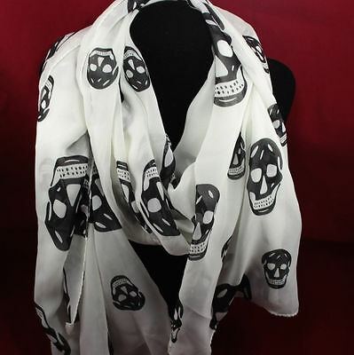 scarf wrap SKULLS DEATH ZOMBIE PUNK BLACK WHITE FASHION winter light goth gothic