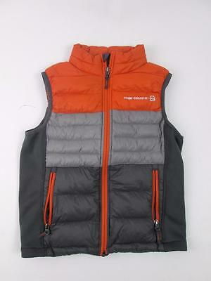 Free Country Kids Boys Down Puffer Vest Winter Gray Orange M (10/12) New