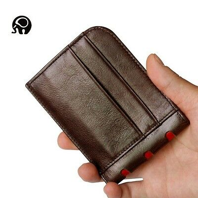 Mini Mens Genuine Leather Wallet Money Credit Card ID Holder Front Pocket Slim