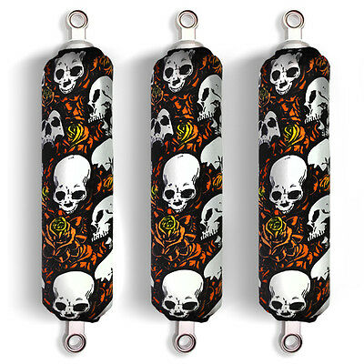 Orange Skull Shock Covers Honda Fourtrax Rancher 350 420 Recon 250 (Set 3) NEW