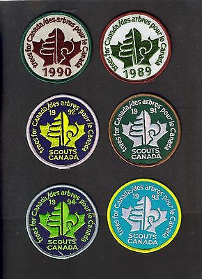 """Boy Scouts Canada  6 """"trees For Canada"""" 1989-1994 Complete Patch Badge 3"""""""