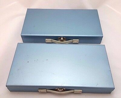 LOT OF 2 - Vintage Blue Metal 150 Capacity Slide Cases File Coin Box Storage