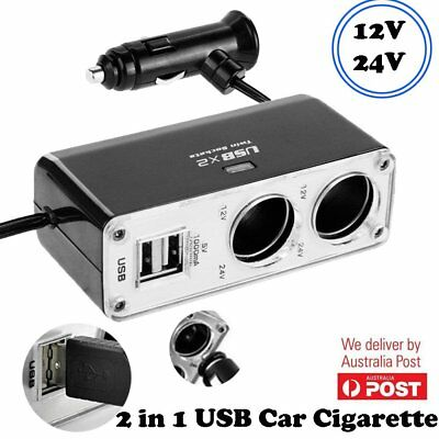 12v 2 Way Car Cigarette Lighter Power Socket Charger Adapter Dual USB Port AU
