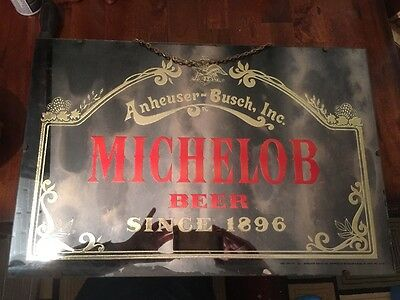 Michelob Beer Sign Mirror Vintage Old Bar Display  Anheuser-Busch Brewery