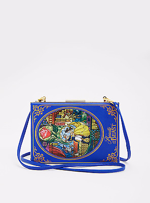 Womens Beauty and the Beast Book Clutch Handbag Bag Purse Belle Stained Glass