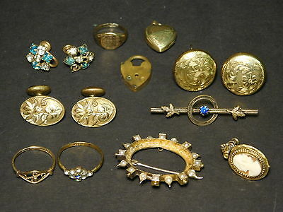 LOT OF 14x PIECES - ALL Gold Filled Antique Victorian Jewelry Rings Brooches
