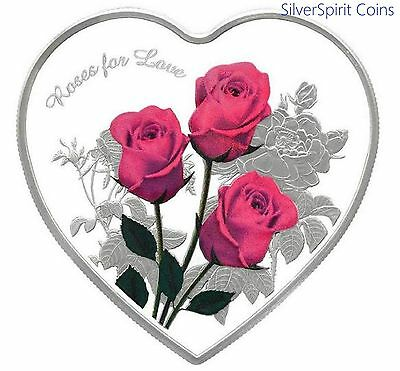2017 ROSES FOR LOVE Heart Shaped Coloured Silver Proof Coin
