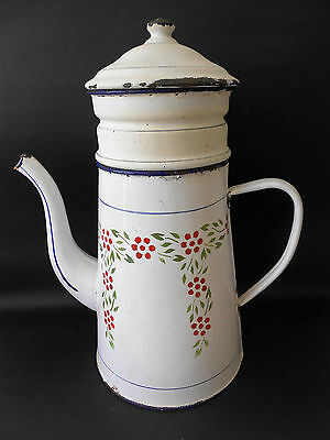 Vintage French Enamel Ware Coffee Pot With Stencilled Design French Provincial