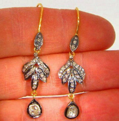 Victorian Style 1.15ct Rose Cut Antique Cut Polki Diamond 925 Silver Earring