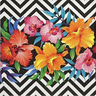 4x Paper Napkins -Tropical Flower- for Party, Decoupage