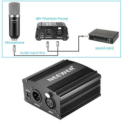 Neewer Nw-700 Micrófono + 48V Alimentación Phantom +Adaptador+ Cable Audio Xlr