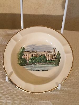 Vintage Crown Devon England Buckingham Palace Royal Queen Ashtray