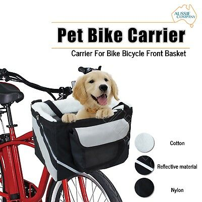 Pet Bike Carrier Cat Dog Puppy Cycling Travel Bag For Bicycle Front Basket Black