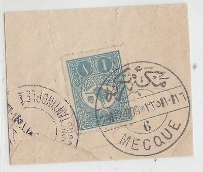 Saudi Arabia 1909   Turkey Fragment Showing Bilingual 'mecque 6' Postmark Rr