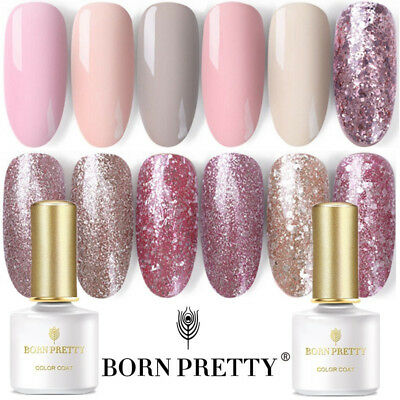 5/6/10ml Rose Gold Glitter LED UV Gel Nail Polish Soak off Varnish BORN PRETTY