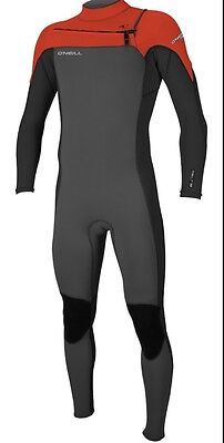 O'neill mens hammer front chest zip 3/2mm full wetsuit black graphite neon red