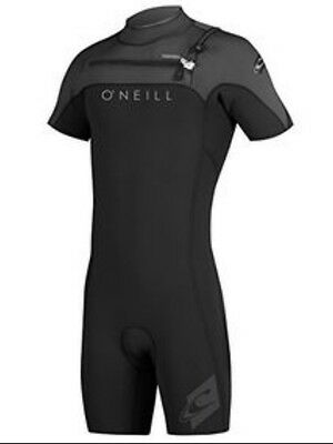 O'neill hyperfreak front zip 2mm short sleeve shorty wetsuit black graphite M L