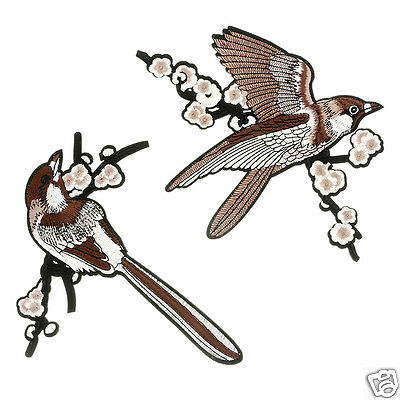2Pc Sparrow Flower Embroidered Patches Iron-on Sewing Patch Applique DIY Sticker