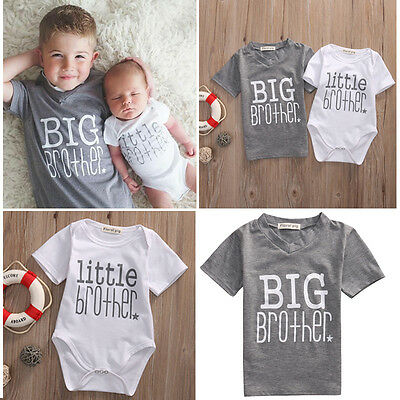 UK Little Brother Baby Boy Romper Big Boy T-shirt Tops Tee Matching Outfits