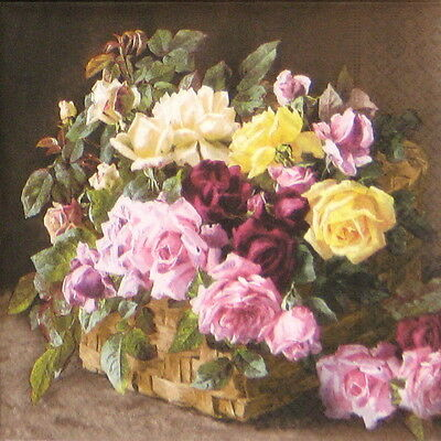 4x Paper Napkins for Decoupage Decopatch Craft Roses in Basket