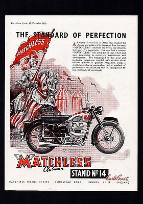 November 1953 Matchless Model G9 Super Clubman 500 Twin Motorcycle.mag Advert.