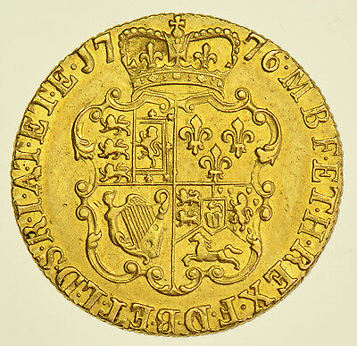 SCARCE 1776 GUINEA, BRITISH GOLD COIN FROM GEORGE III aEF