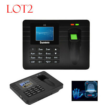 2 x DISPLAY TCP/IP FINGERPRINT TIME CLOCKS EMPLOYEE PAYROLL + USB RECORDER PUNCH